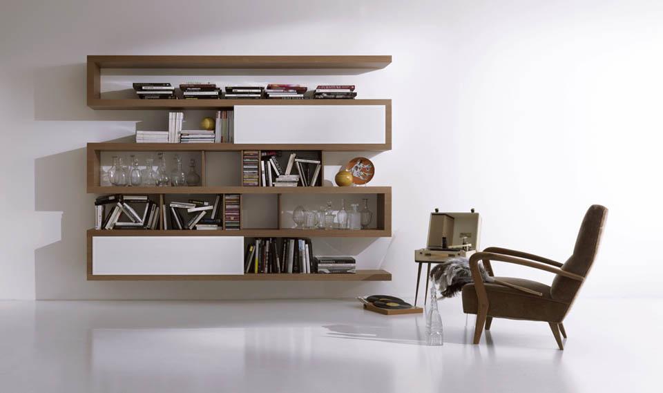 Come scegliere la mensola da salotto giusta for Librerie in legno componibili
