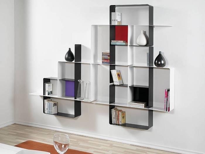 arredare il salotto, libreria componibile