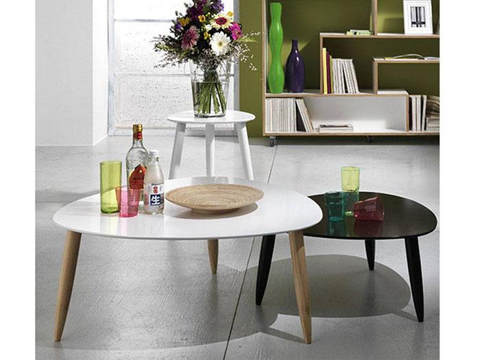 Set tre tavolini rotondi in legno