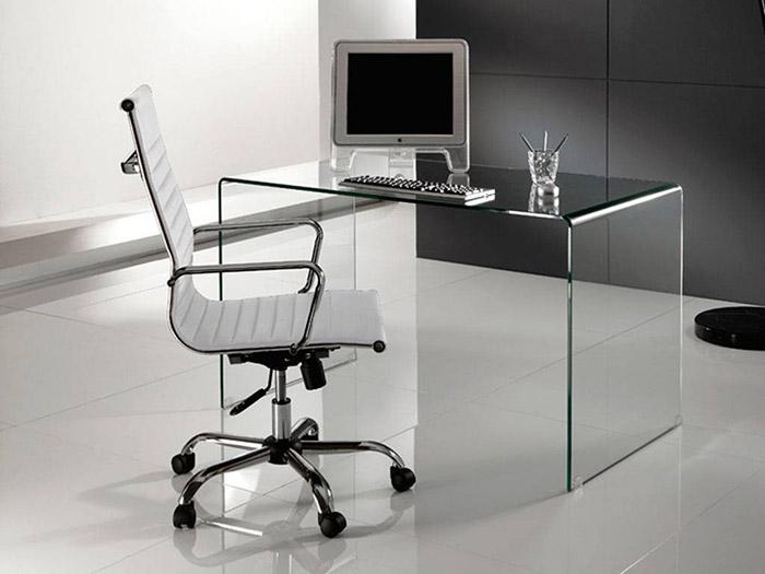 Bend, scrivania in vetro curvato