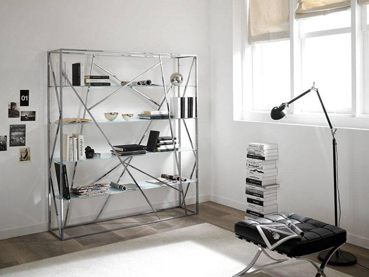 Libreria per angolo divano
