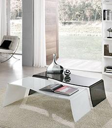 Tavolini in vetro curvato da salotto