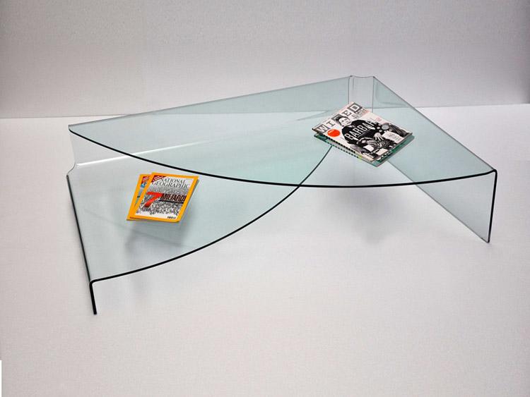 Tavolino in vetro curvato da salotto