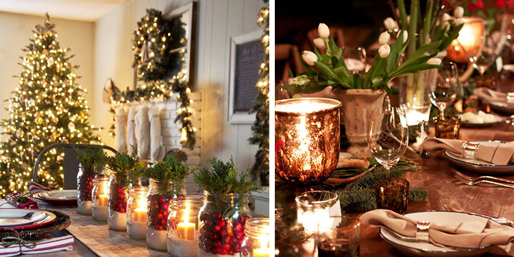 tavola natalizia candele