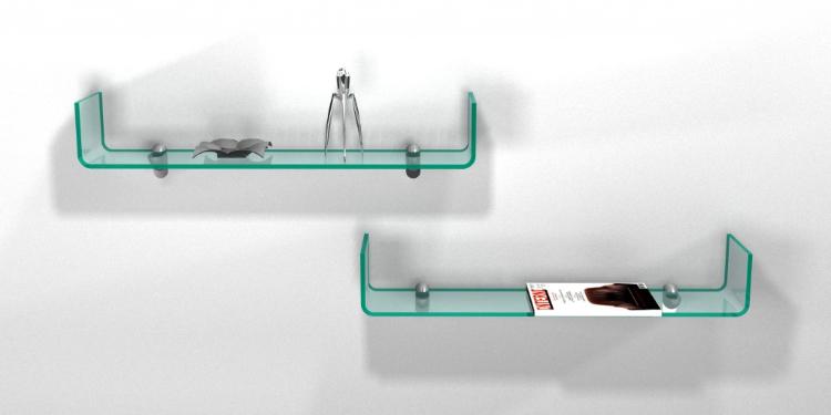 handle mensola in vetro curvato portaoggetti
