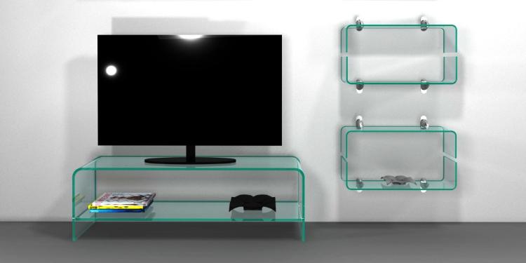 handle mensola in vetro curvato tv