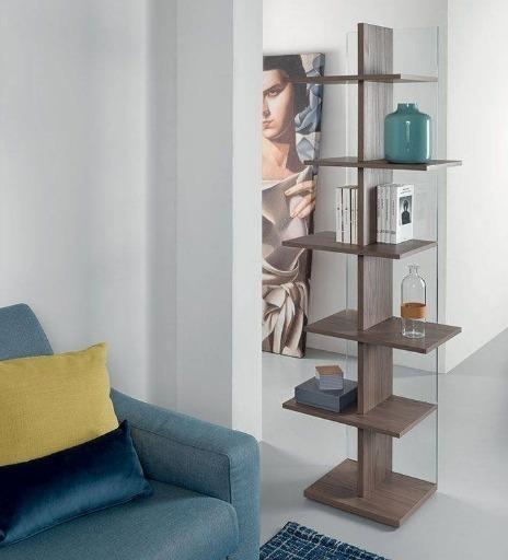 libreria legno vetro