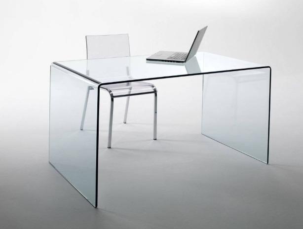 scrivania vetro curvato