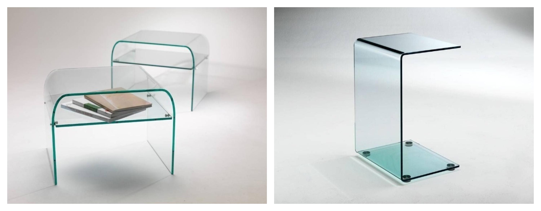tavolino comodino vetro curvato