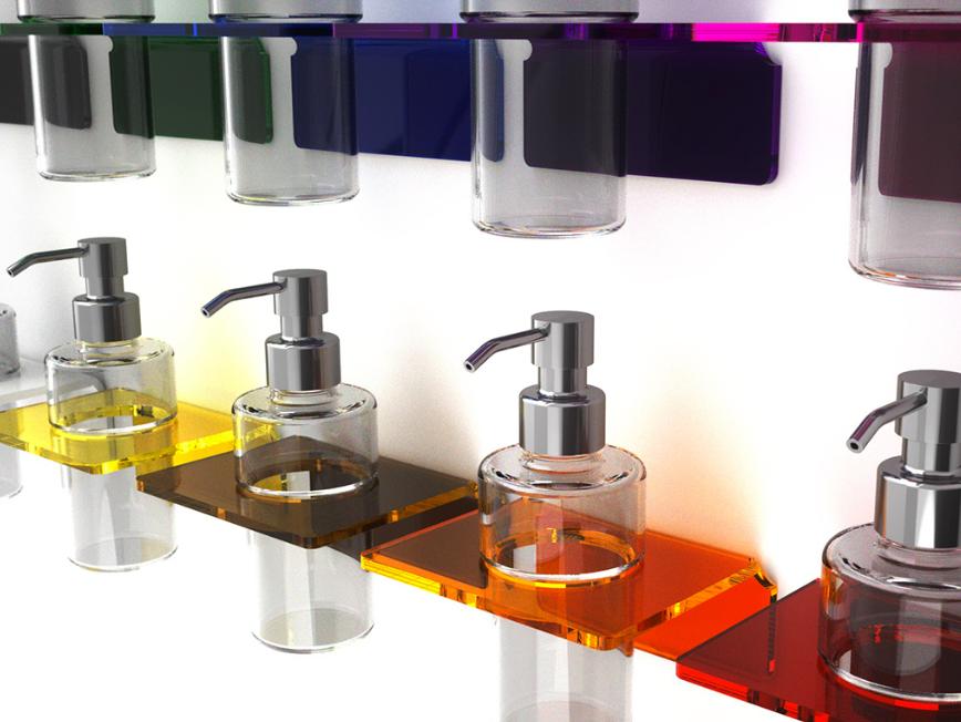 accessori bagno plexiglas colorato
