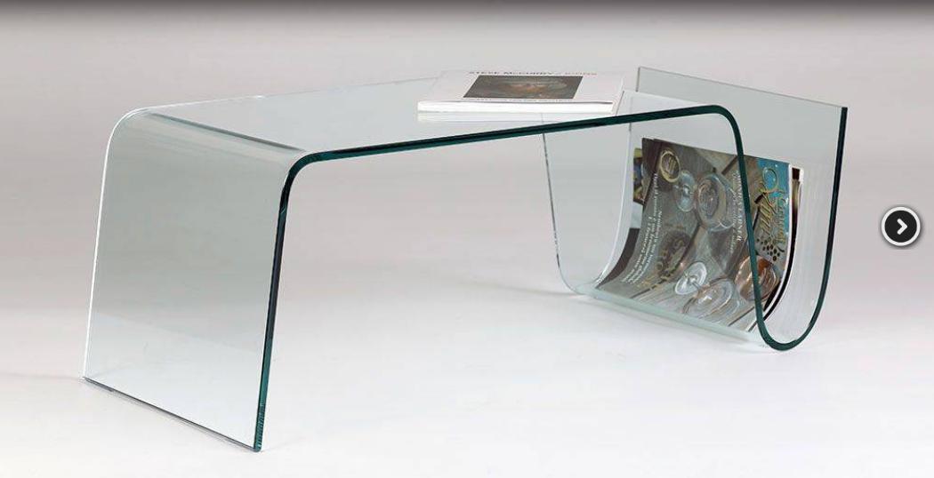 tavolino vetro curvato