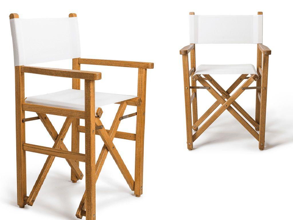 sedia da esterno in legno da regista