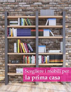 libreria moderna in metallo e legno