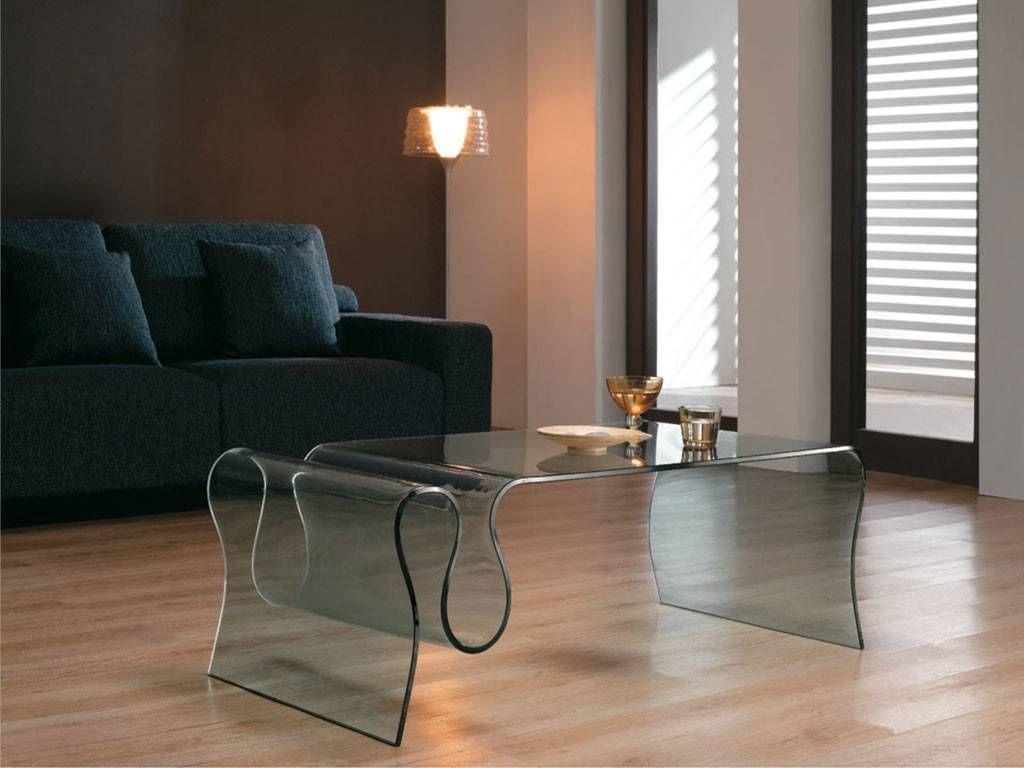 tavolino in vetro curvato di design