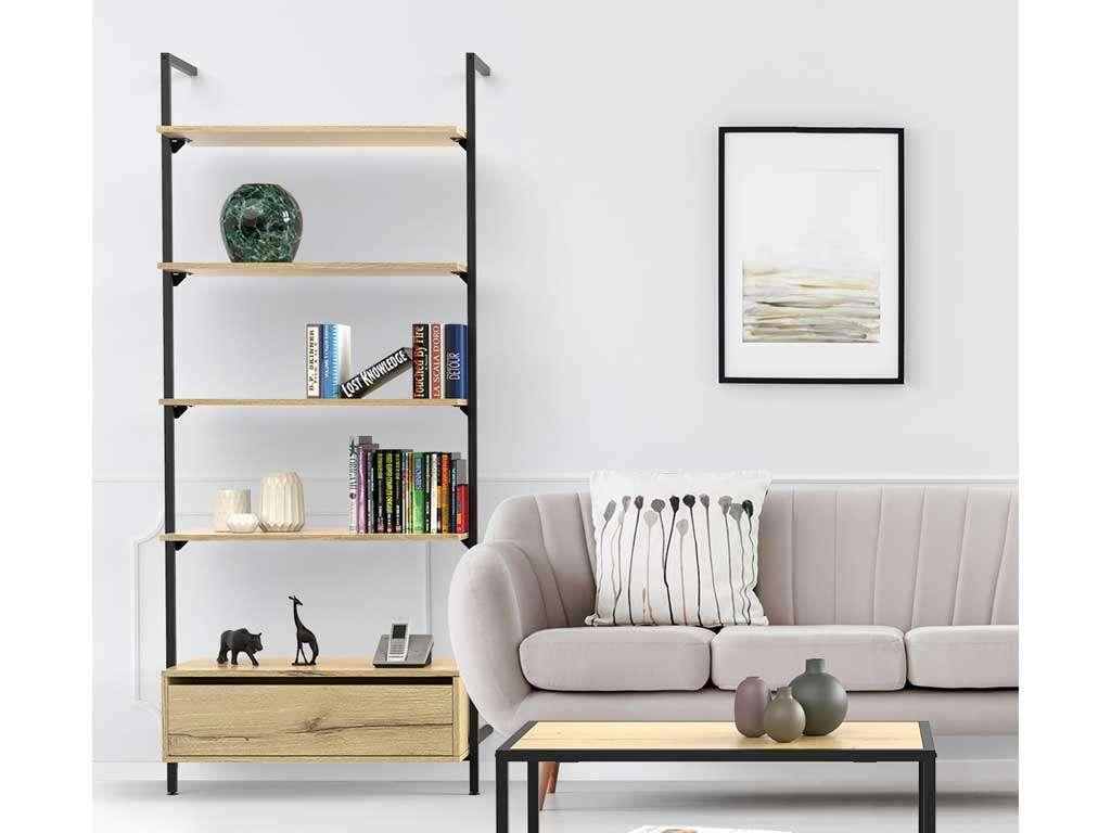 libreria con tavolino in soggiorno moderno
