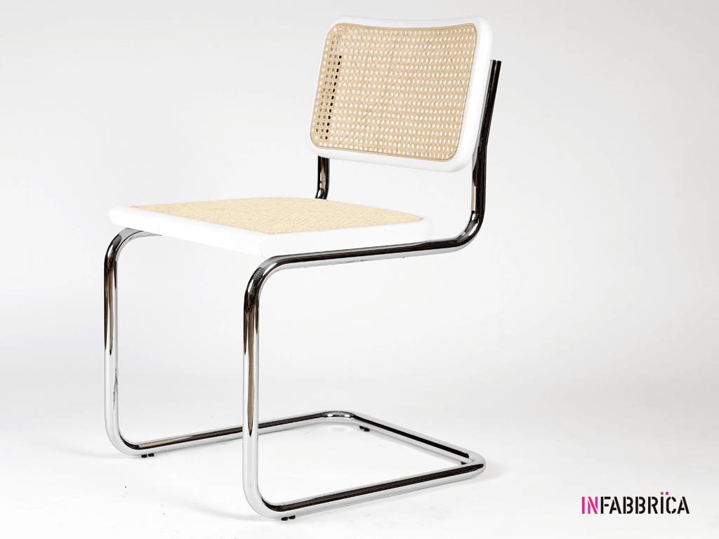 sedia di design in acciaio e legno