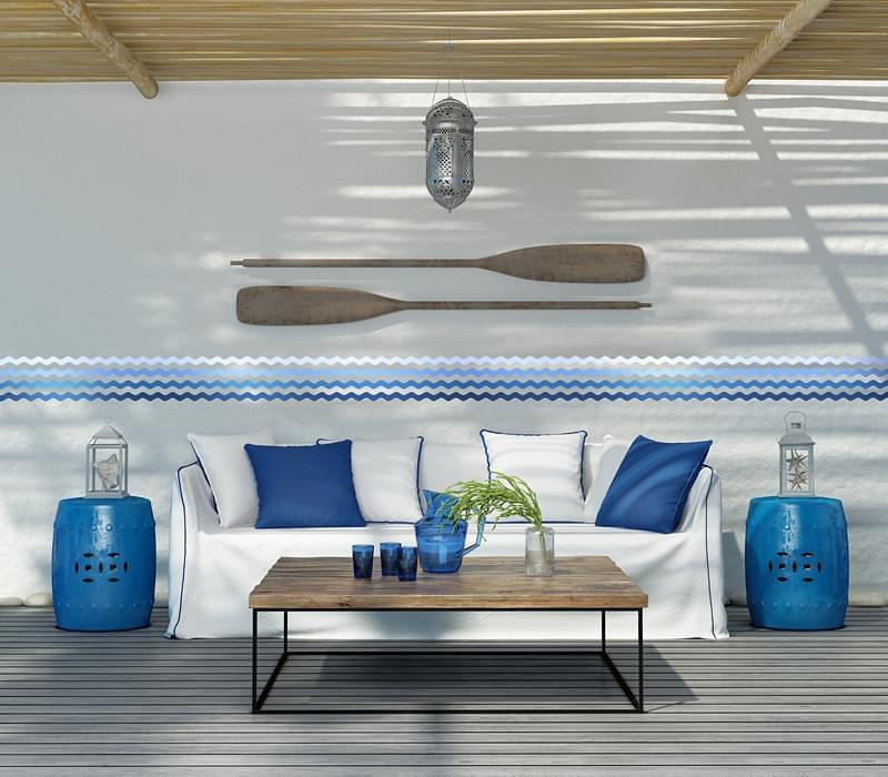 arredamento casa al mare bianco e blu