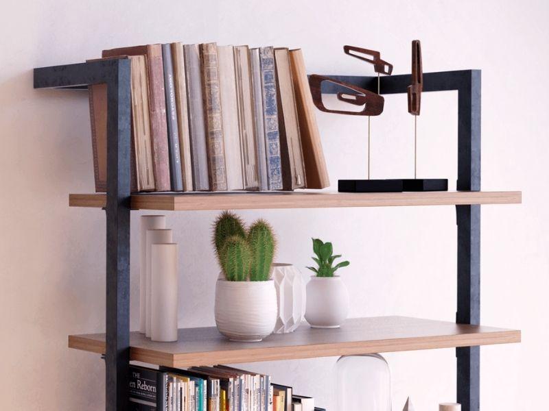 libreria industrial legno