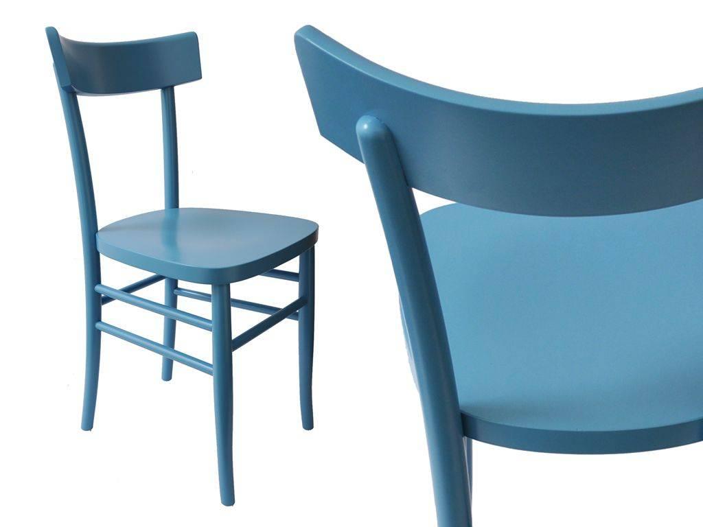 sedia in legno vintage blu