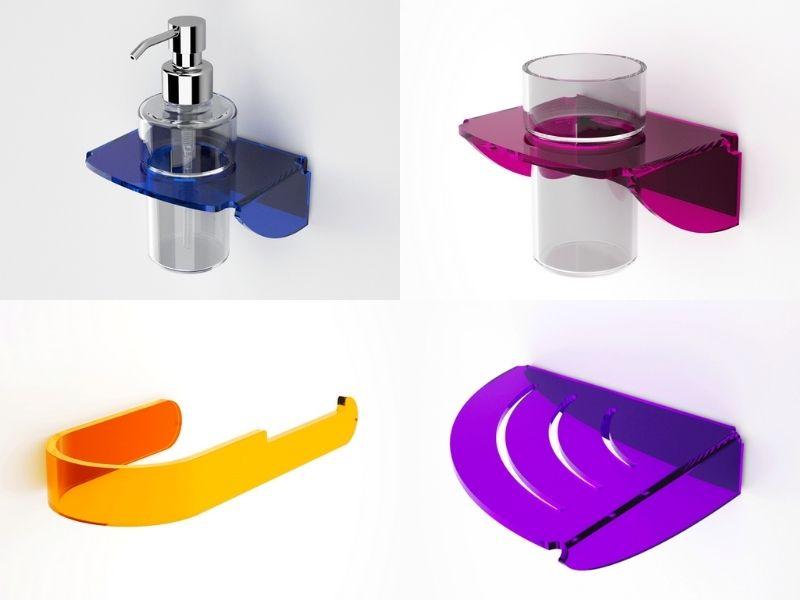 accessori da bagno in plexiglass colorati