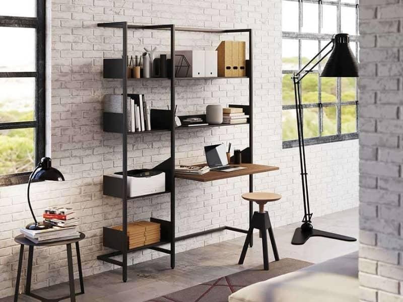 libreria con scrivania combinata