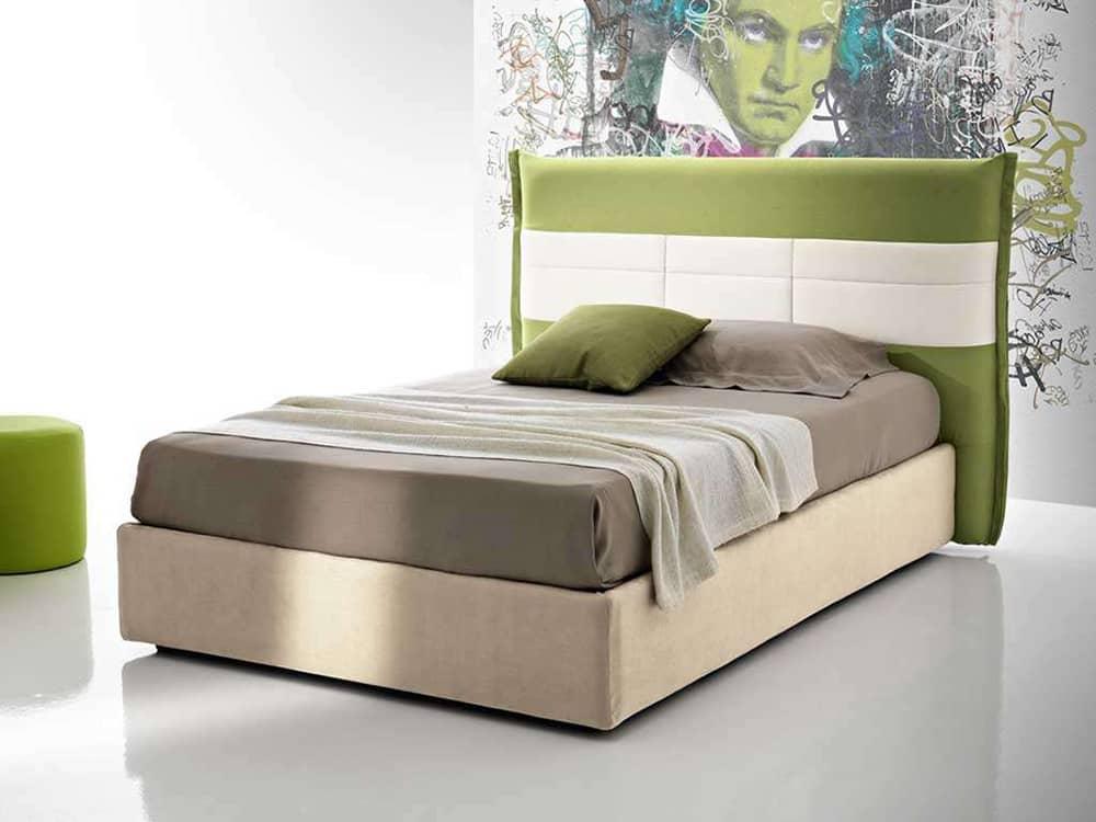 letto di design con testata verde