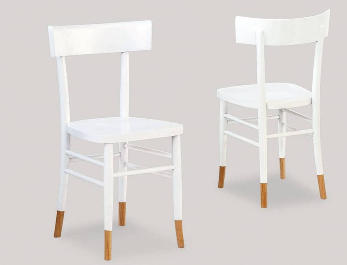 sedia in legno bianca